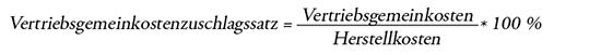 Formel Vertriebsgemeinkostenzuschlagssatz