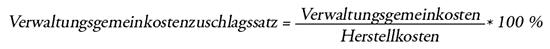 Formel Verwaltungsgemeinkostenzuschlagssatz